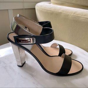 Max Mara Mirrored Block Heels in Black Leather